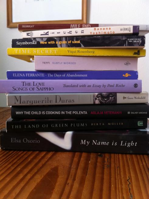 Tasty pile of books in translation
