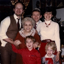My father, great-grandmother Margaret (Mami), brother, uncle, mom, and me, at Mami's place in Borough Park.