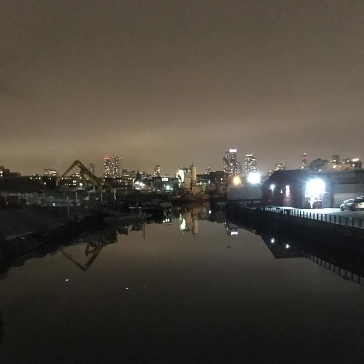 Gowanus canal at night.